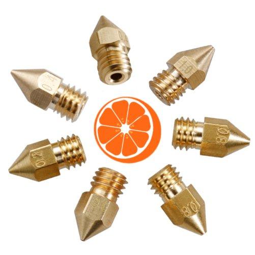 Hot Orange 3D Messing MK8 1.75 Nozzle set XL