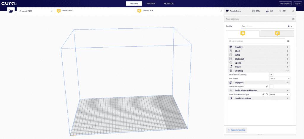 Creabot in Cura interface